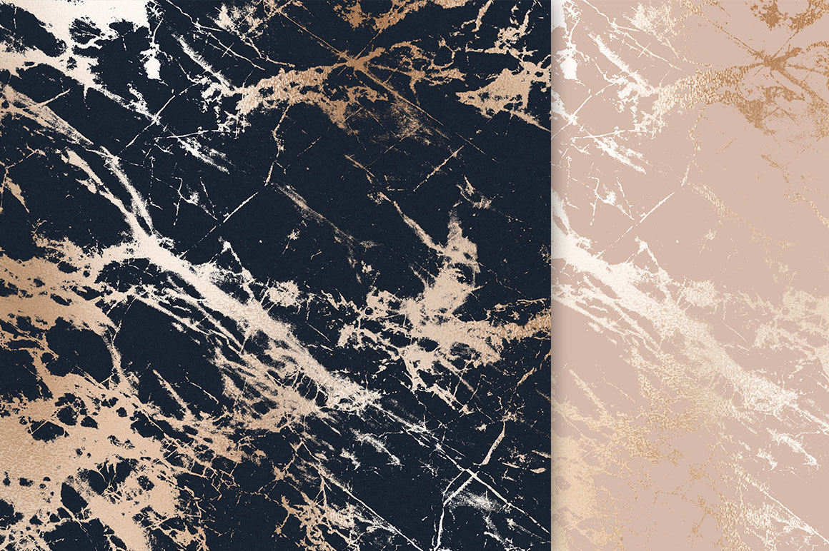 Rose Gold and Navy Blue Marble Textures