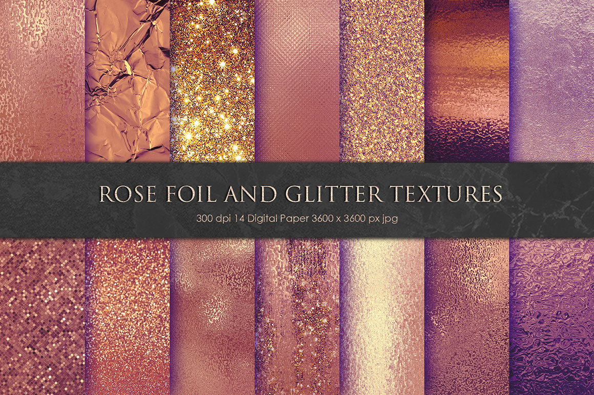 Rose Gold Foil and Glitter Textures