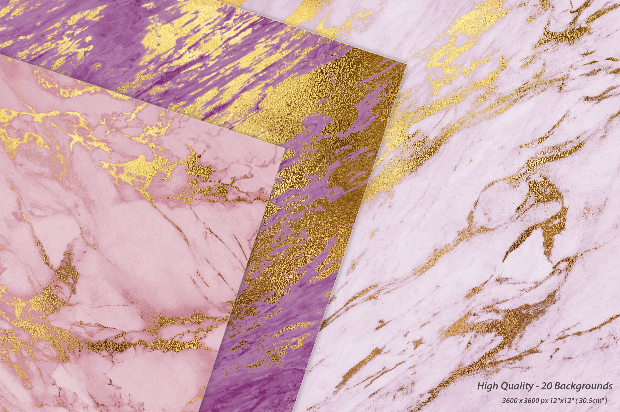 Rose Gold & Purple Marble Textures
