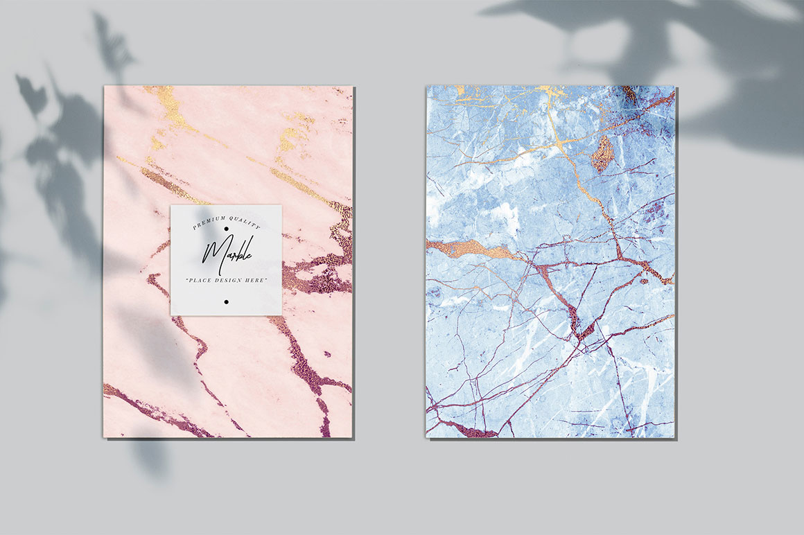 Rose Gold & Blue Marble Textures