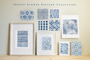 Indigo Summer Watercolor Patterns