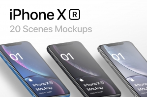 iPhone XR - 20 Mockup Scenes