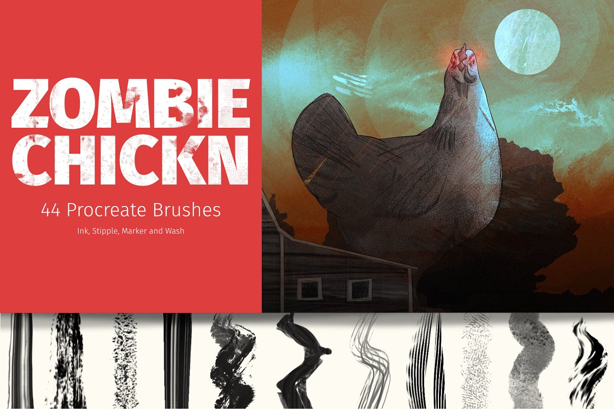 32 Handmade Ink and Watercolor Procreate Brushes