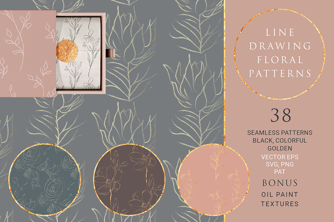38 Line Drawing Floral Patterns Collection