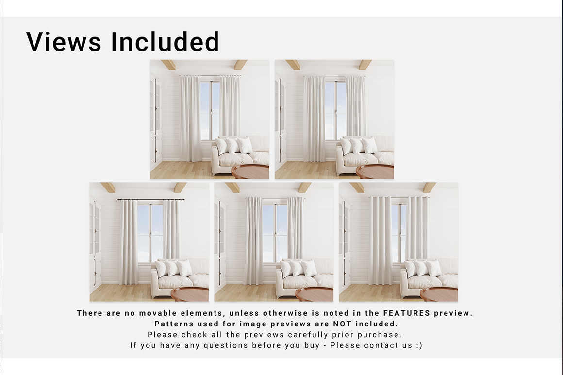 5 Types of Curtains & Pillows Set Vol.2