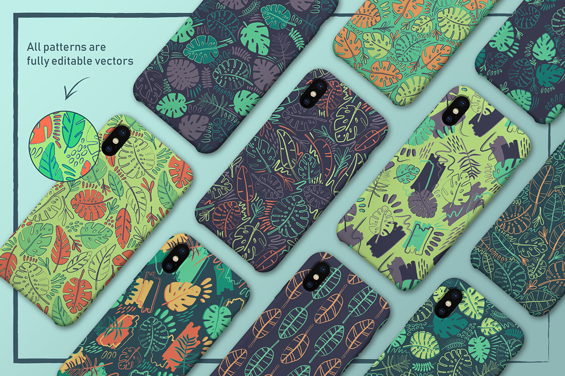 Crazy Tropics: 12 Seamless Tropical Patterns