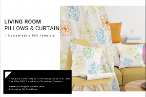 Curtain & Pillows Mockup Set