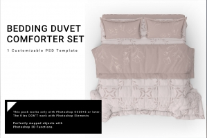 Duvet Comforter and Shams Mockup Set