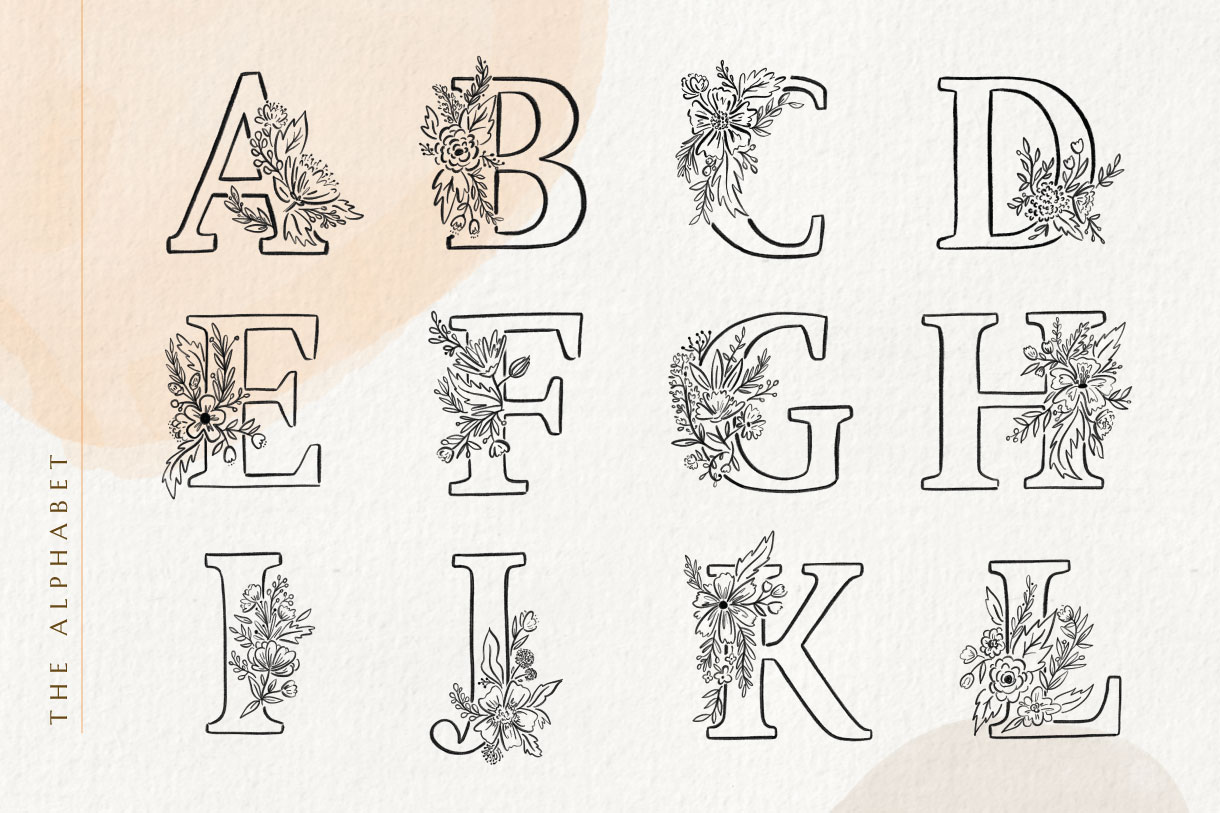 Floralia Botanic Alphabet Font & Illustrations