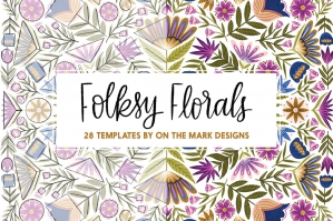 Folksy Florals Drawing Templates