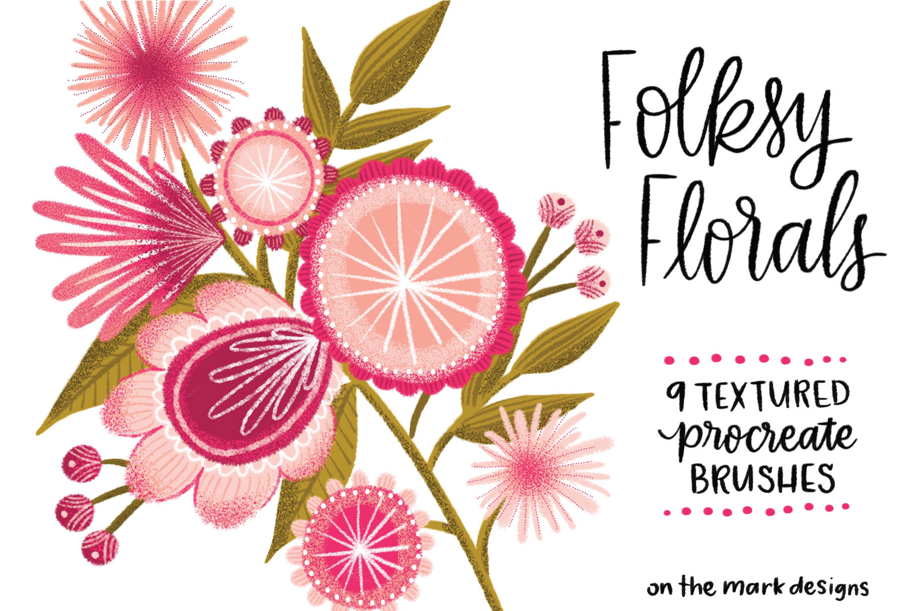 Folksy Florals Textured Procreate Brushes