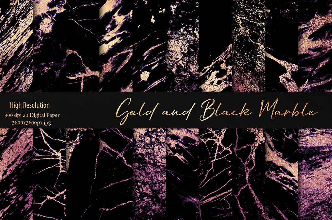 Gold Black Marble Textures