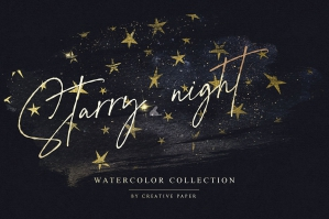 Gold Starry Watercolor Overlays