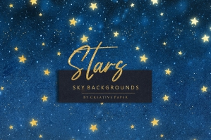 Gold Stars & Sky Backgrounds