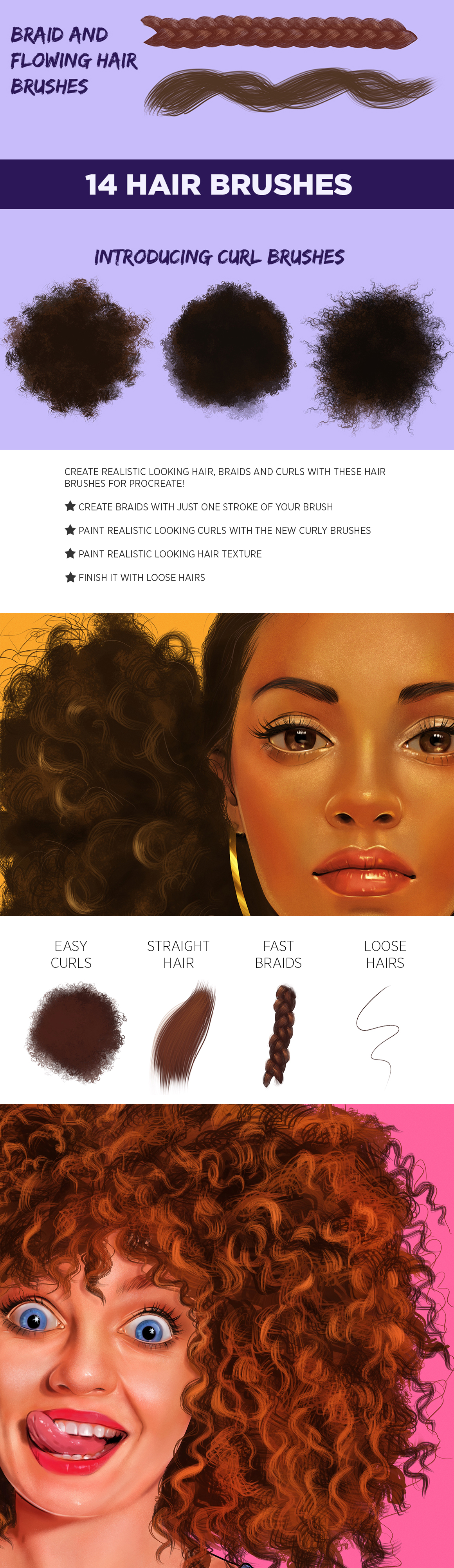 Hair brushes for Procreate Vol. 2