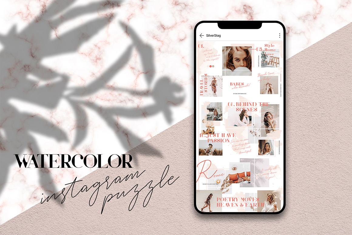 InstaGrid 9 - Watercolor Puzzle Template