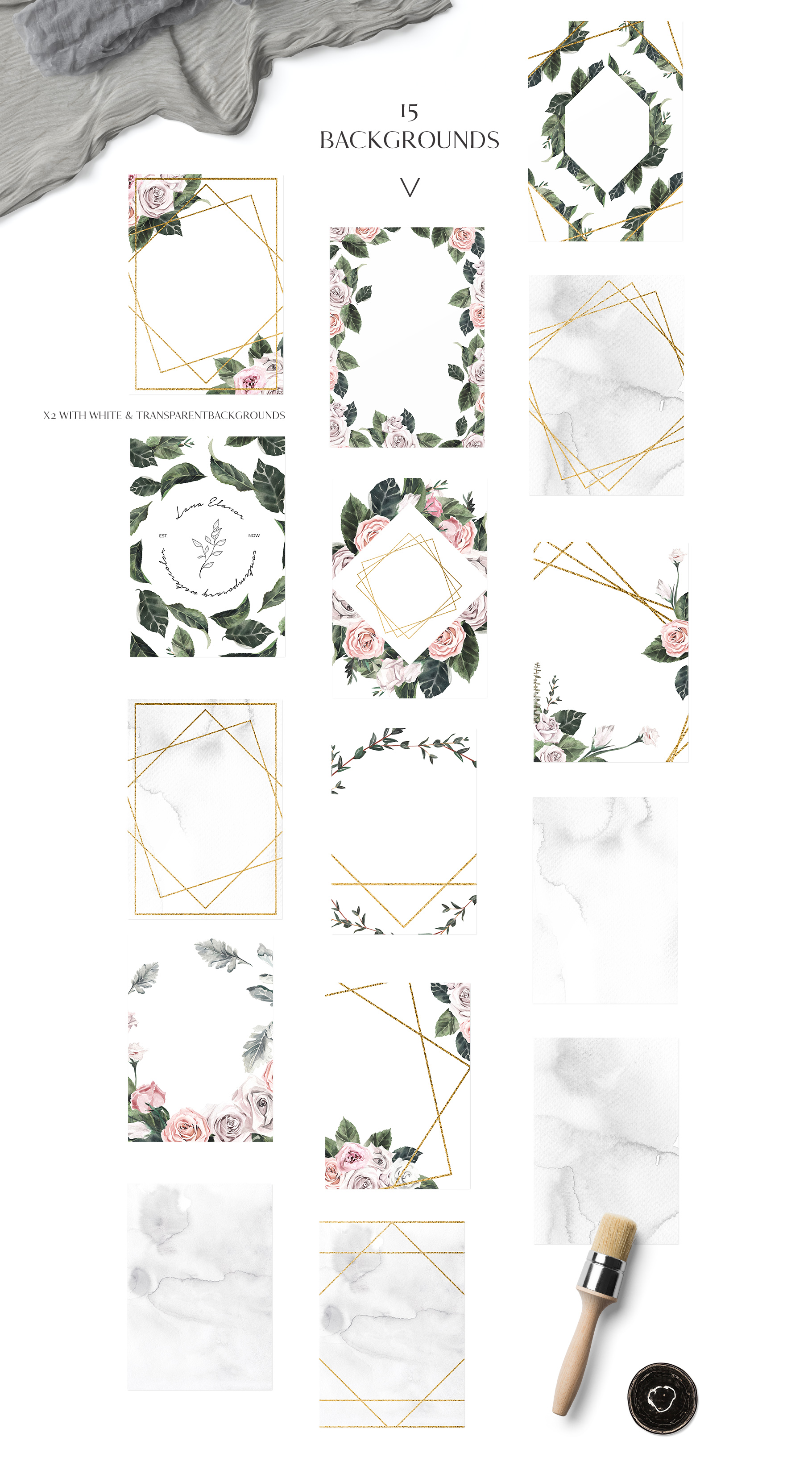 Quinta - Rose Floral Watercolor Collection