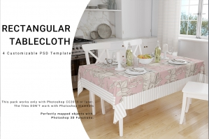 Rectangular Tablecloth Mockup Set