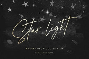 Silver Starry Watercolor Transparent Overlays