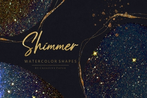 Sky Shimmer Watercolor Shapes