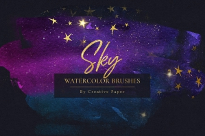 Sky & Stars Watercolor Transparent .PNG Overlays