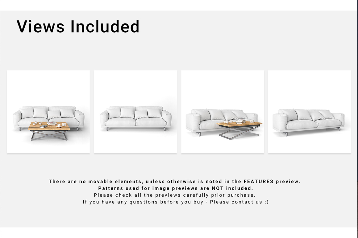 Sofa and Throw Pillows Set