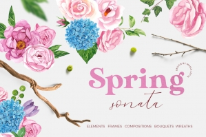 Spring Sonata Watercolor Design Set