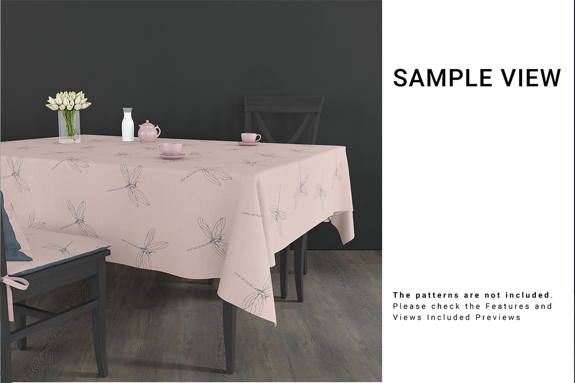 Square Tablecloth & Chair Mockup Set