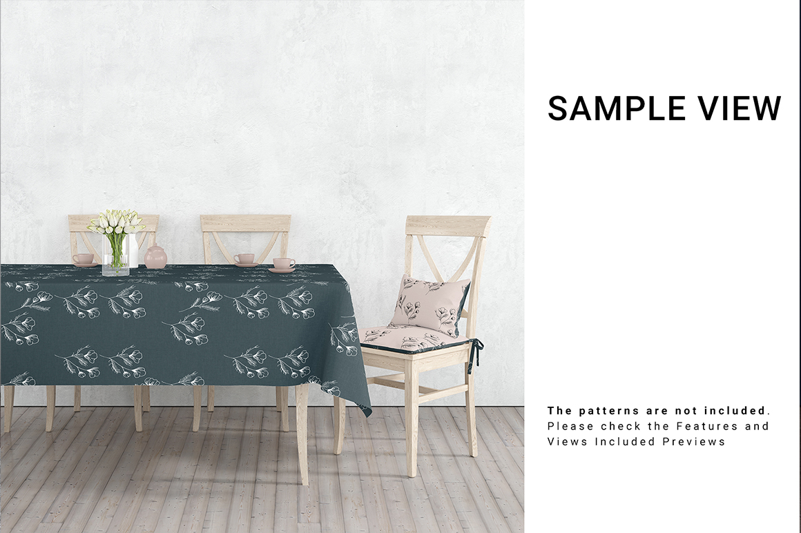 Tablecloth and Chair Cushion Mockup Set