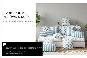 Throw Pillows Lumbar Pillows & Sofa Mockup Set