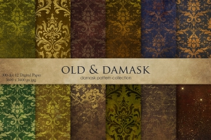 Vintage Gold Damask Patterns Pack