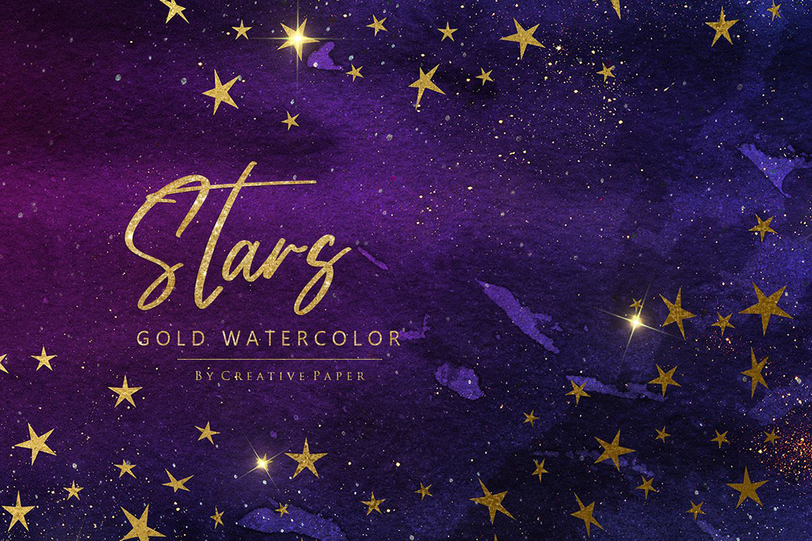 Watercolor Gold Stars and Sky Backgrounds