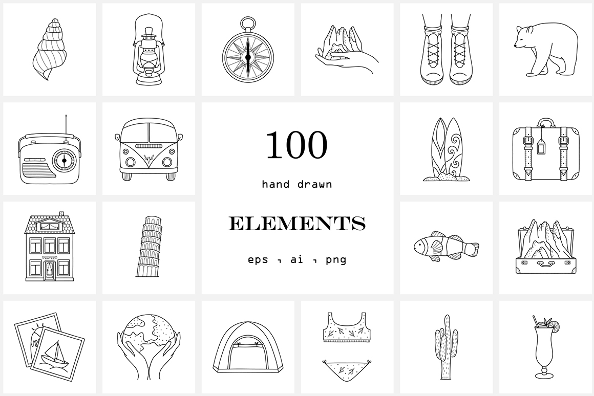 100 Hand Drawn Line Travel Icons Logo Elements