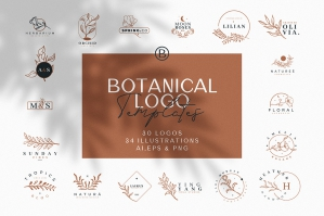 30 Hand Drawn Botanical Logos