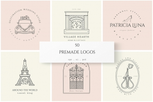 50 Hand Drawn Logo Templates