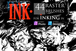 INK for Affinity: 44 Brushes + Dehalftonizer