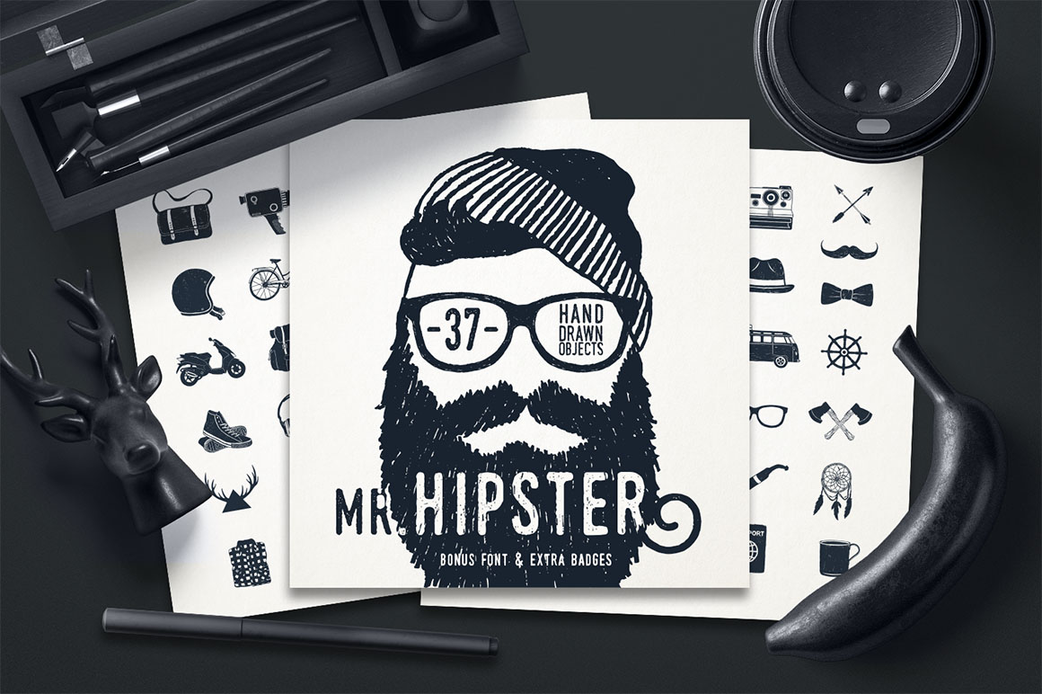 Mr.Hipster 37 Hand Drawn Objects + Bonus