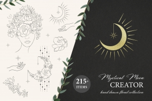 Mystical Moon - Hand Drawn Floral Logo Print