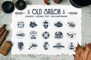 Old Sailor - 15 Vintage Badges