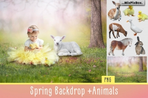 Spring Backdrop + Animals