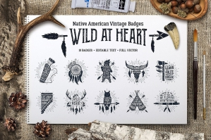 Wild at Heart - 10 Vintage Badges Part 1