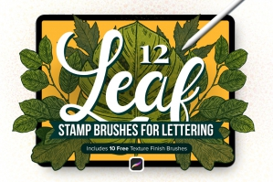 12 Leaf Procreate Stamp Brushes