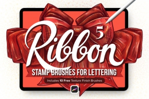 5 Ribbon Procreate Stamp Brushes