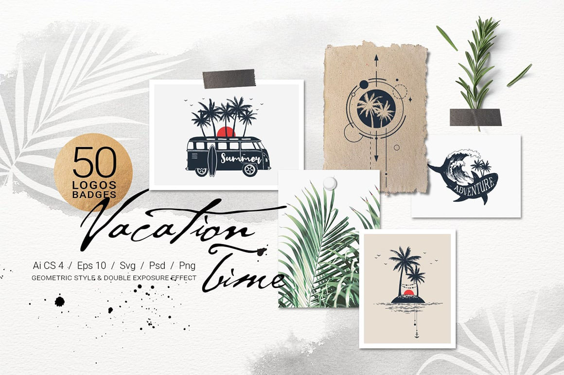 50 Logos & Badges. Vacation Time