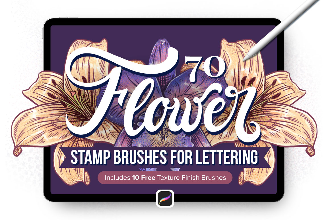 70 Flower Stamp Procreate Brushes