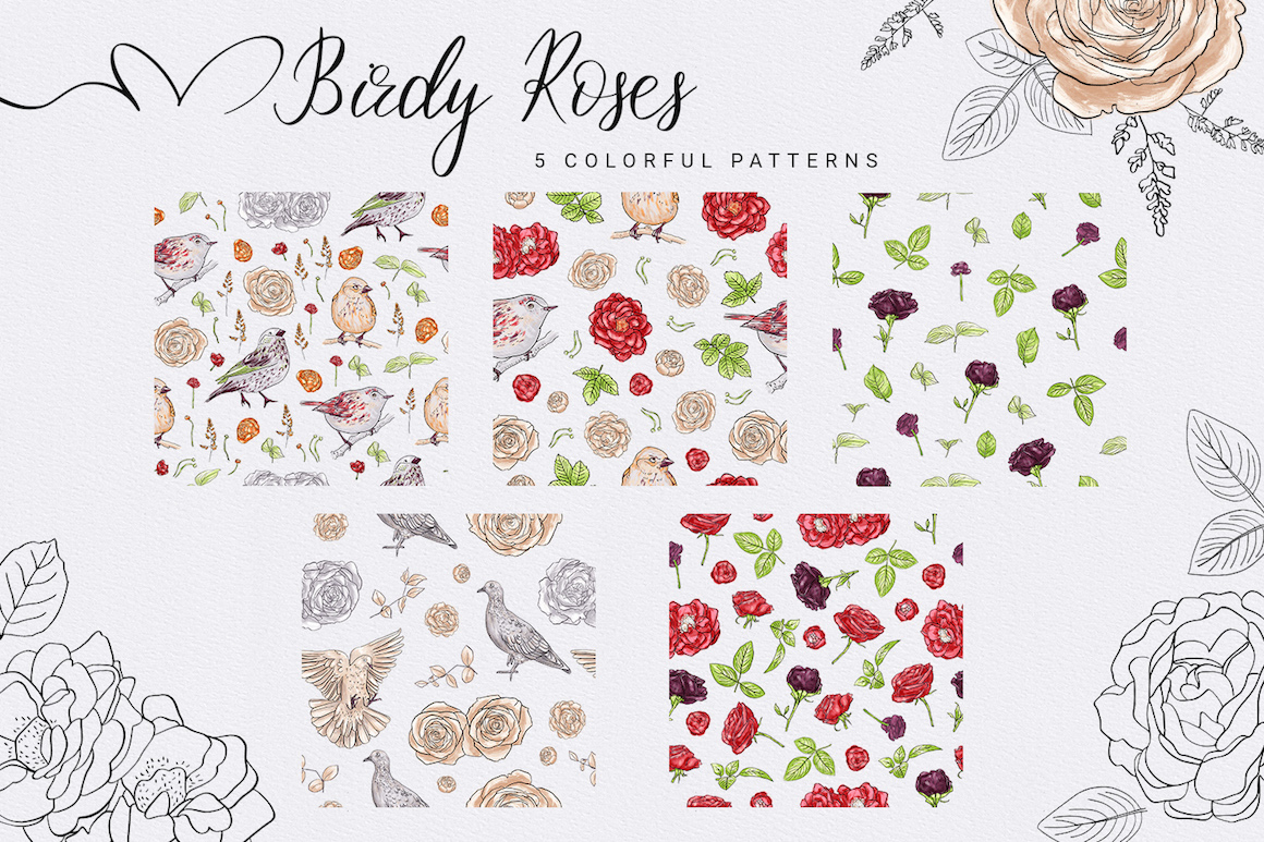 Birdy Roses Collection: Floral Clipart & Patterns