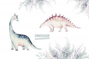 Dino Watercolor Collection. Dinosaur Set. Part I