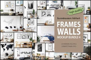 Frames & Walls Scandinavian Mockups Bundle - 4