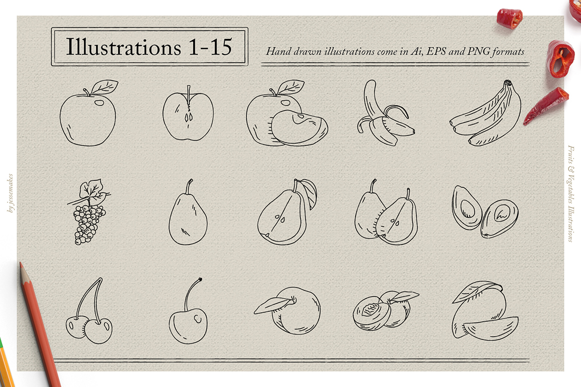 Fruits & Vegetables Illustrations