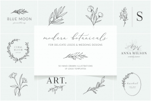 Line Art Botanical Illustrations & Logo Templates